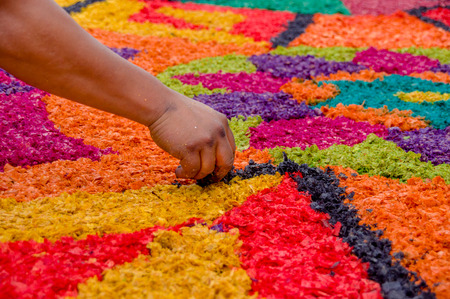 handmade easter carpets made from colored sawdust fruits and flowers in antigua guatemala Archivio Fotografico