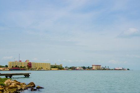 beautiful view of the coast in belize city blue sky ocean photo