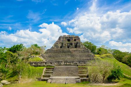 beautiful landscape of xunantunich maya site ruins in belize caribbean