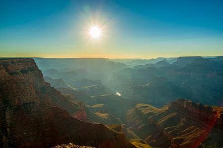 toroweap: beautiful colorful landscape grand canyon national park arizona sun rays