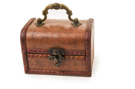 beautiful vintage wooden treasure chest toy closed isolated on white photo
