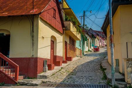 picturesque streets in isla de flores guatemala island central america