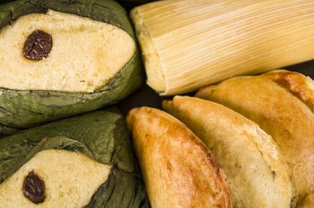 ecuadorian: quimbolitos humitas and empanadas ecuadorian traditional food closeup
