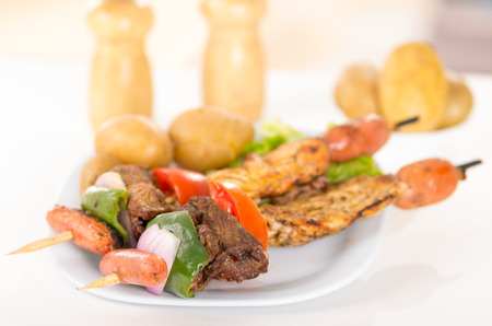 shishkabab: two delicious skewers shish kebab sticks grilled meat chicken on a plate closeup selective focus