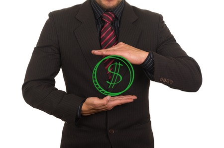 young elegant businessman dressed in black holding drawn money concept of payment success savings wealth photo