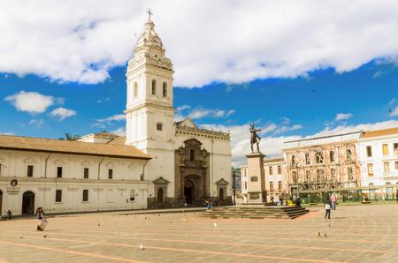 quito: Historic Plaza de Santo Domingo in old town Quito, Ecuador