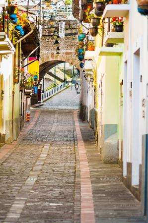 ronda: La Ronda picturesque curve street in colonial Quito Ecuador South America Stock Photo