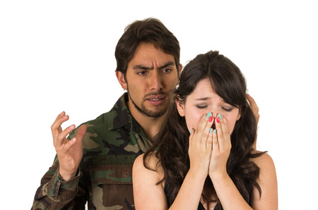 distraught military soldier veteran ptsd fighting with wife isolated on white