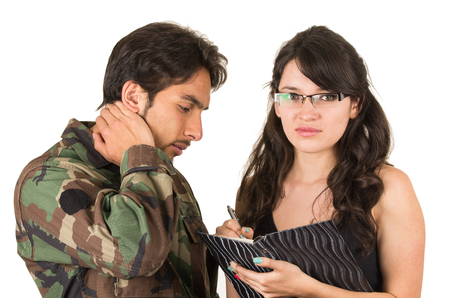distraught: distraught military soldier veteran ptsd in therapy with psychologist isolated on white Stock Photo