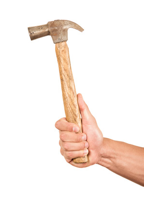 hitter: closeup of hand holding a hammer isolated on white
