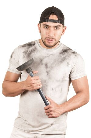 young muscular latin janitor holding plunger isolated on white photo
