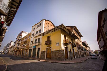 cuenca: CUENCA, ECUADOR - AUGUST 23, 2010: Beautiful colonial streets in downtown Cuenca Editorial