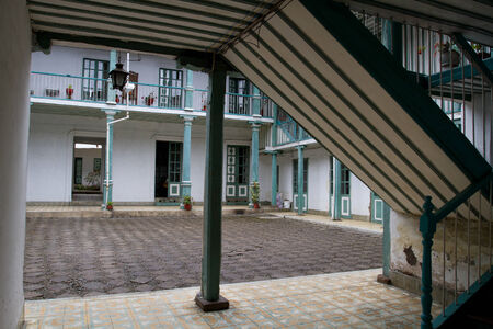 colonial house: Classical colonial house and central patio in downtown Guaranda Ecuador
