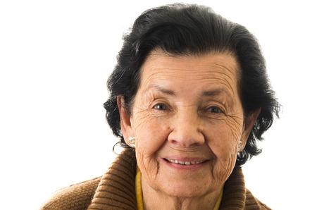close-up portret van zoete liefdevolle gelukkige grootmoeder