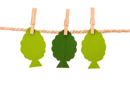 geen: geen paper trees hanging on a rope clothesline isolated on white