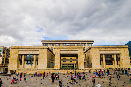 plaza: BOGOTA, COLOMBIA - FEBRUARY 9, 2015: Palace of Justice, a cultural and historical landmark in Plaza Bolivar, Bogota.