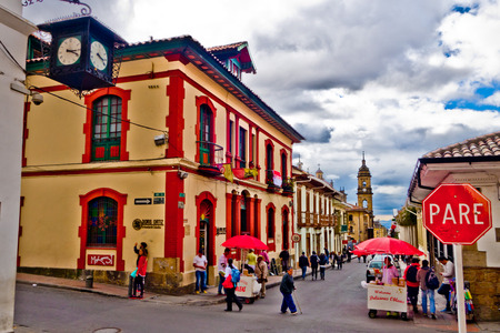 BOGOTA, COLOMBIA - FEBRUARY 9, 2015: La Candelaria, colonial neighborhood that is a cultural and historical landmark in Bogota, Colombia Editoriali