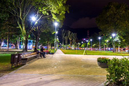 rosa: BOGOTA, COLOMBIA - FEBRUARY 9, 2015: 93 Park in Bogota, Colombia, is a commercial and recreational park in one of the most popular shopping, night clubs and restaurant areas. Editorial