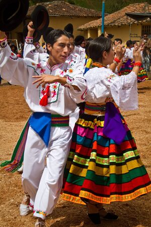 ecuadorian: INGAPIRCA, CANAR, ECUADOR - JUNE 19, 2010: Unidentified indigenous people celebrating Inti Raymi Inca Festival of the Sun in  Ingapirca, Ecuador