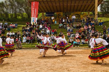 quechua: INGAPIRCA, CANAR, ECUADOR - JUNE 19, 2010: Unidentified indigenous people celebrating Inti Raymi Inca Festival of the Sun in  Ingapirca, Ecuador