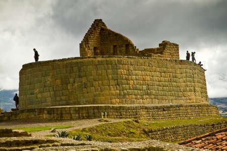 quechua indian: INGAPIRCA, CANAR, ECUADOR - JUNE 19, 2010: Unidentified tourists in Ingapirca the most important Inca archaelogical ruins in Ecuador