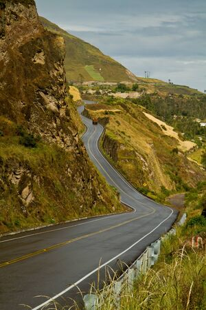 alpine tundra: Road to beautiful andean city of Canar in Azogues Ecuador South America