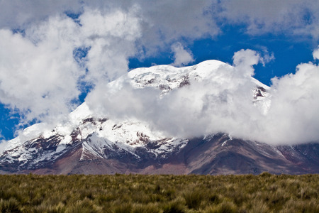 andes mountain: Amazing landscape of Chimborazo volcano in the Andes, the highest mountain of Ecuador