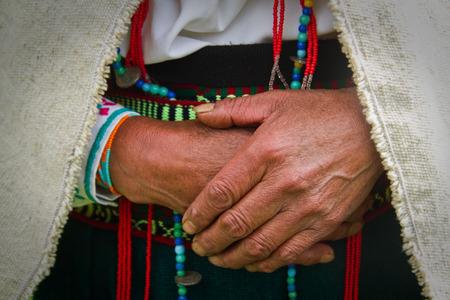 indigenous: Closeup of an indigenous womans hands together, Chimborazo, Ecuador