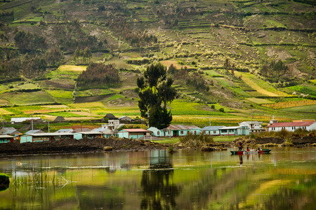 Beautiful landscape of Colta lagoon in Chimborazo, Ecuador