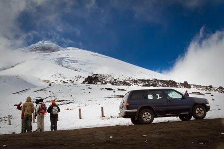 '5 december': COTOPAXI, ECUADOR - DECEMBER 5, 2010: Unidentified tourists in Cotopaxi volcano, one of the worlds highest volcanoes.