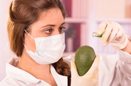 biologist: young beautiful female biologist experimenting with avocado in lab Stock Photo