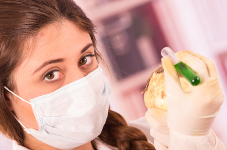 biologist: young beautiful female biologist experimenting with white onion in lab Stock Photo