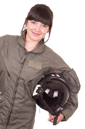 pilot helmet: beautiful young female pilot holding helmet isolated on white