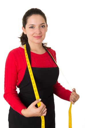 beautiful young woman tailor seamstress designer stylist holding measuring tape isolated on white