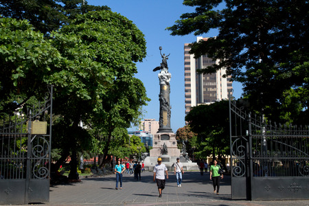 guayaquil: GUAYAQUIL, ECUADOR - APRIL 27, 2013: Important Statue of Independence column in Centenario Park in Guayaquil