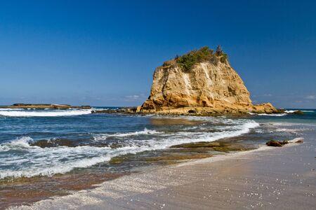 islet: Beautiful paradisiac landscape of islet in front of beach Machalilla National Park, Manabi, Ecuador