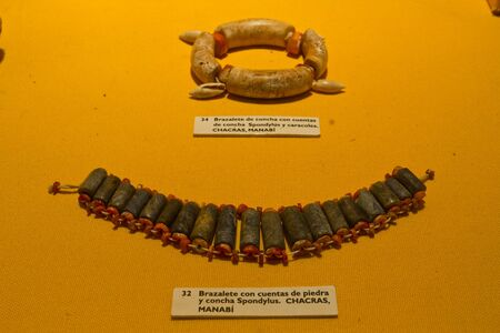 artifacts: MANABI, ECUADOR - JUNE 2, 2012: Exhibition of jewelry artifacts at Archeological Museum in Manabi.