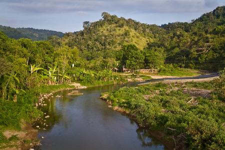 Nature view travelling along the ecuadorian coast through the province of Manabi, Ecuador photo