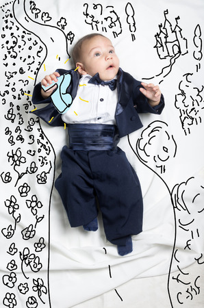 cinderella shoes: Cute infant baby boy sketched as prince charming looking for Cinderella Stock Photo