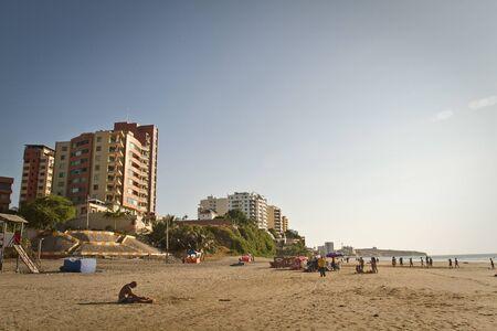 coastal city: MANTA, ECUADOR - JUNE 1, 2012: Beautiful view of Murcielago beach in Manta, popular ecuadorian coastal city,