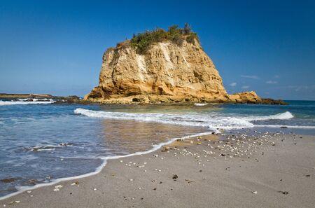 islet: Beautiful paradisiac landscape of islet in front of Tortuguita beach, Machalilla National Park, Manabi, Ecuador