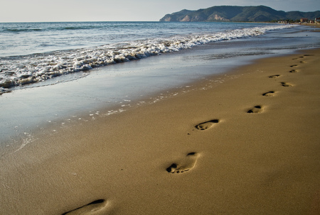 adult footprint: Walking footprints on the beach, concept of summer, vacations, fun Stock Photo