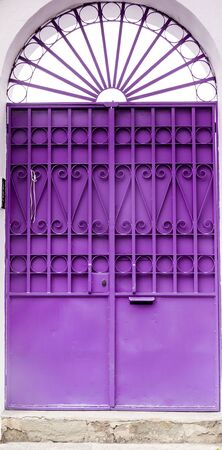 metal bars: Purple colored door with metal bars and modest arch