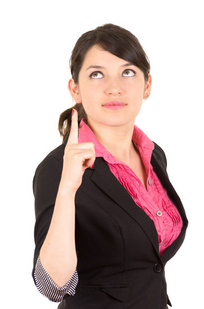 one finger: Hispanic woman in pink shirt and black blazer jacket holding one finger up looking upwards side angle.