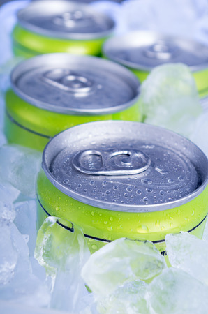 crushed: drink cans with crushed ice Stock Photo