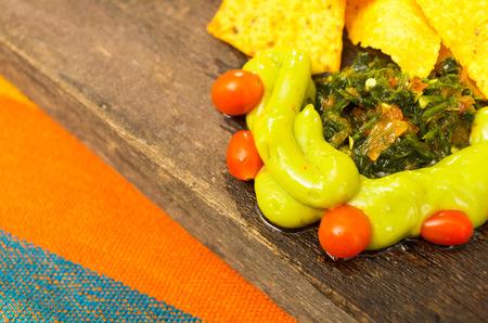 guacamole: nachos and avocado sauce, guacamole Stock Photo
