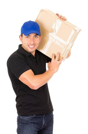man carrying box: happy friendly confident delivery man carrying box over the shoulder isolated on white Stock Photo
