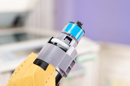 printer cartridge: Photocopier printer blue cartridge close up shot