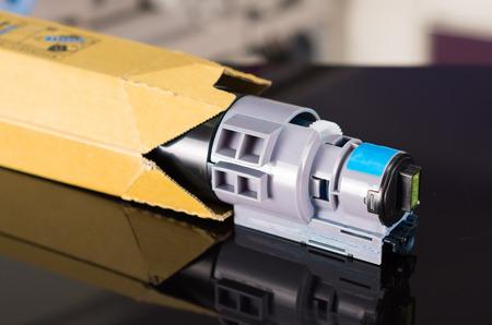 photocopier: Photocopier printer blue cartridge close up shot