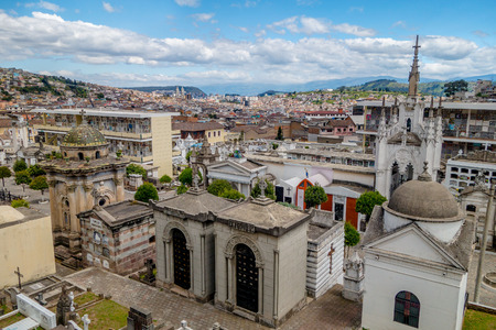 catholic wedding: San Diego cemetary in old part Quito showing great overview of city background. Stock Photo
